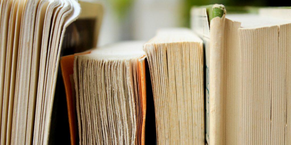 Close Up Image of Books on a Shelf