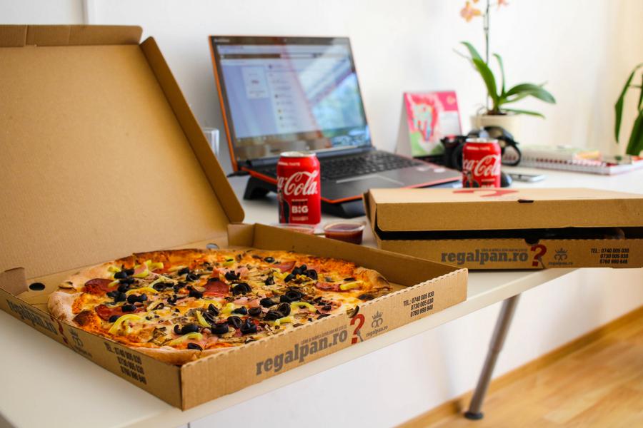 junk food pizza boxes coke