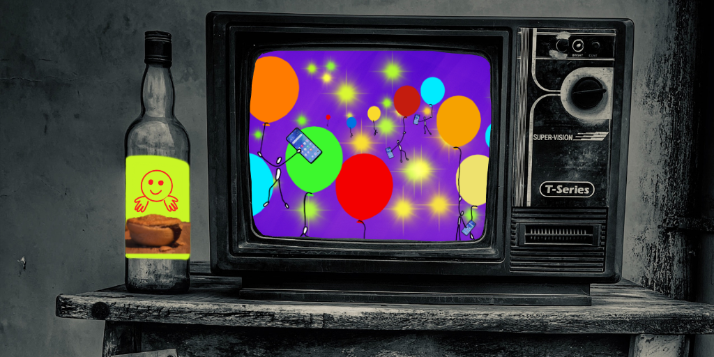 Old TV with colourful balloons